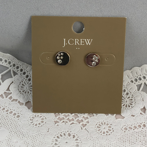 J. Crew Jewelry - J. Crew Silver Tone Pave Cubic Zirconia Earrings